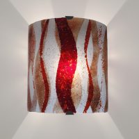 Fused glass wall lights - Gordhyllo Red Flame
