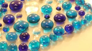 Blue Heart fused glass beads