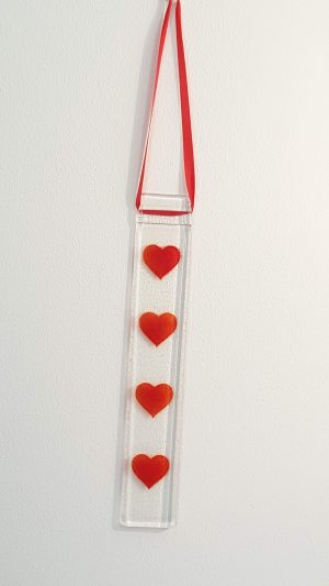 Hanging Light Catcher with Red Hearts