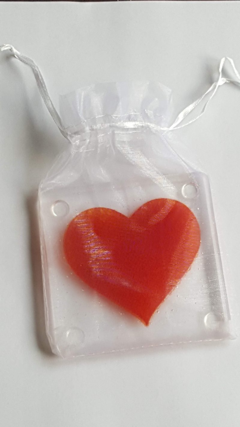 Red Heart Coaster in gift bag