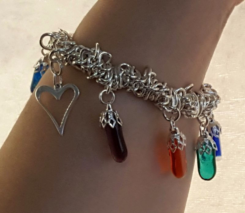 rainbow bracelet worn