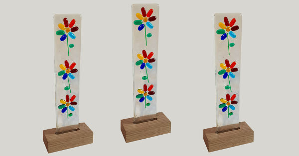 three standup flower light catchers