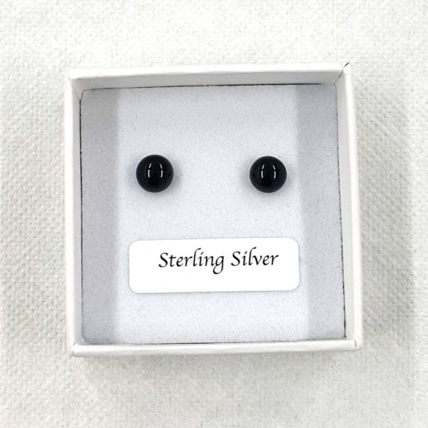 plain black stud earrings