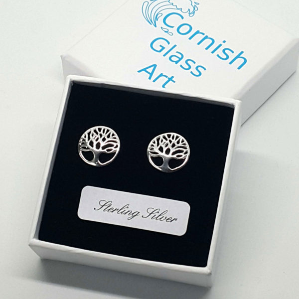tree of life sterling silver studs in box