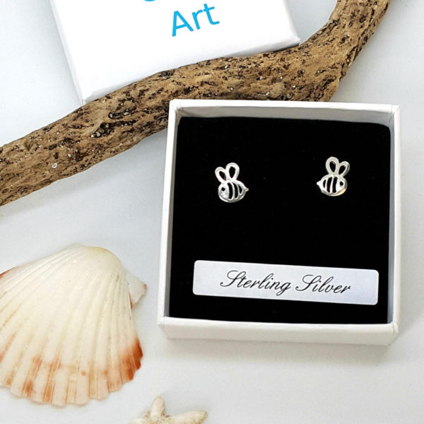 Cute Bee Sterling Silver Stud Earrings