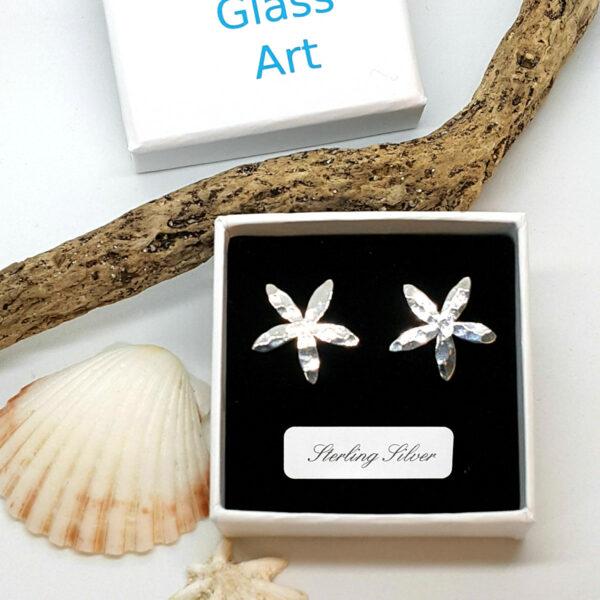 Hammered Petal Flower Sterling Silver Stud Earrings