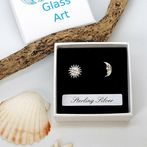 Sun and Moon Sterling Silver Stud Earrings
