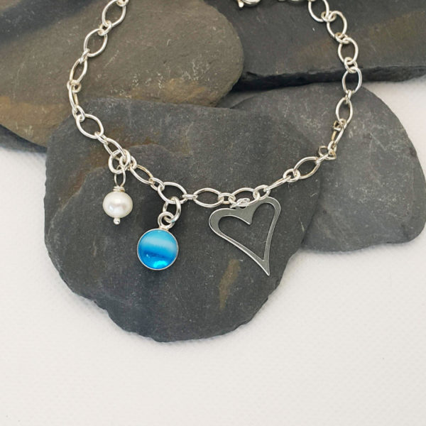Ocean charm bracelet with heart